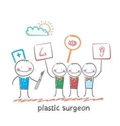 Plastic surgeon looks at people with placards vector