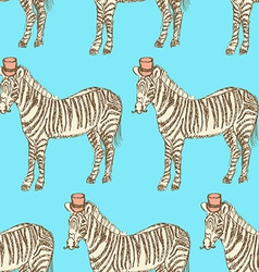 Sketch fancy zebra in vintage style vector