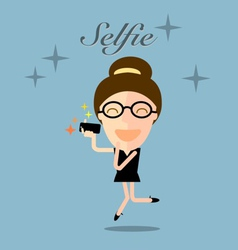 Girl taking selfie photo on smart phone vector