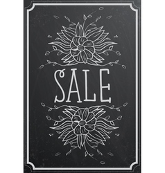 Sale concept with flower on black chalkboard vector image