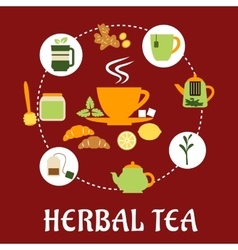 Herbal tea flat infographic design with icons vector