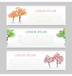 Set of three banners with abstract trees vector