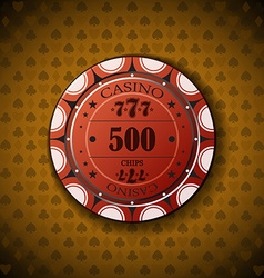 Poker chip nominal five hundred on card symbol vector