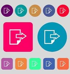 Export file icon file document symbol 12 colored vector