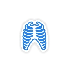 Paper sticker on white background bone ribs vector
