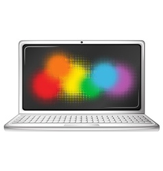 Computer laptop with rainbow screen vector