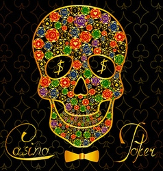 Background with casino chips and scull vector