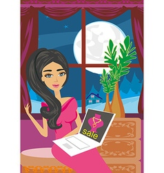 Online shopping - young woman sitting with laptop vector image