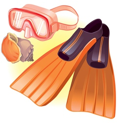 Accessories for diving vector image