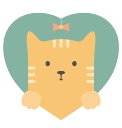 Animal set Portrait of a red cat in love Flat vector image