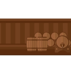 Background of wine barrels in cellar vector image