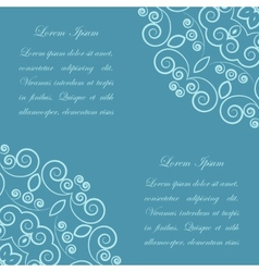 Blue background with ornate pattern vector image vector image