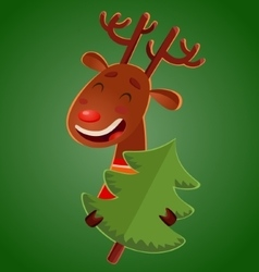 Cartoon cute christmas deer holding a christmas vector