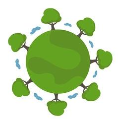 Cartoon earth with trees vector