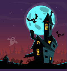 cartoon scary haunted house vector image vector image