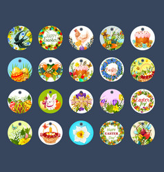 Easter tag set with cartoon round label vector