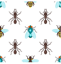 Flat style seamless pattern with ants bees and fly vector
