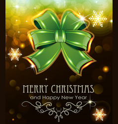 Green christmas bow on holiday background vector