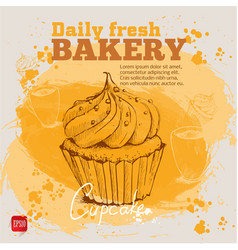 Hand drawn sketch style cupcake vector