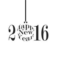 Happy new year 2016 in black and white vector