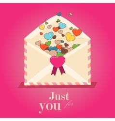 Happy Valentines Day Envelope with Paper Hearts vector image