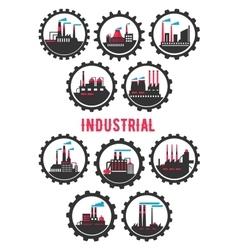 Industrial plants flat symbols framed by cogwheels vector