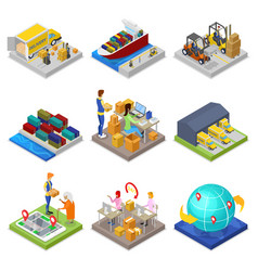 logistics service isometric 3d set vector image