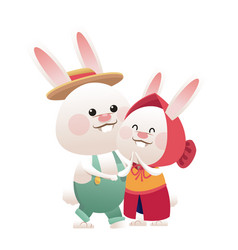 Lovely couple easter bunny together vector