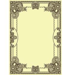 original floral vintage frame vector image