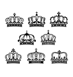 Ornated heraldic royal crowns set vector