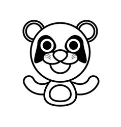 Panda animal toy outline vector