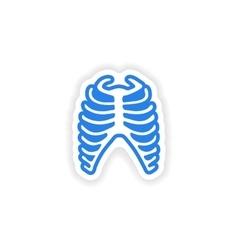 Paper sticker on white background bone ribs vector