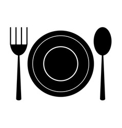 plate spoon fork utensils pictogram vector image