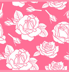 Roses flowers pattern seamless on pink background vector