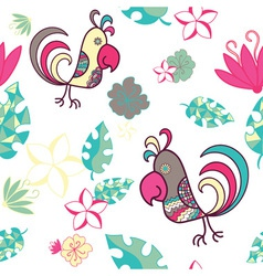 seamless pattern with parrots and tropical plants vector image vector image