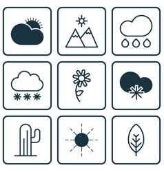 Set of 9 harmony icons includes snowstorm tree vector