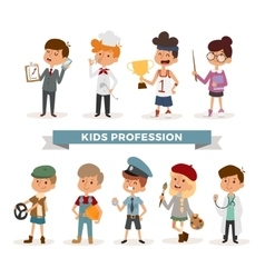 Set of cute cartoon professions kids vector