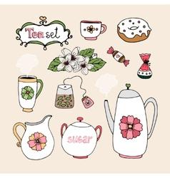Set of tea service icons vector
