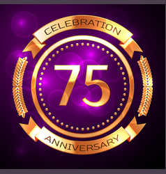 seventy five years anniversary celebration with vector image
