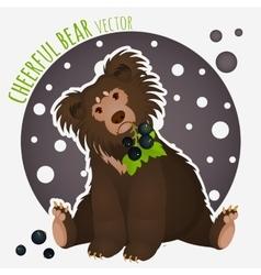 Shaggy bear with black currants in the teeth vector