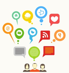 Social media network abstract speech bubbles vector