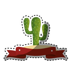 Sticker colorful cactus with thorns and ribbon vector