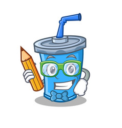 Student soda drink character cartoon with pencil vector