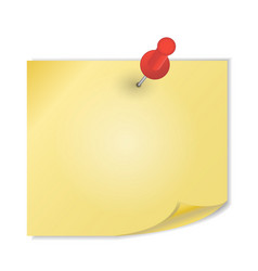 Yellow paper with pin on white background vector