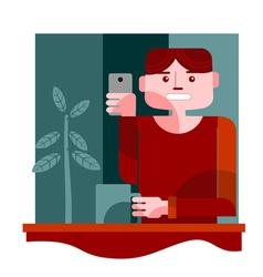 young man taking selfie vector image vector image