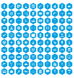 100 building materials icons set blue vector