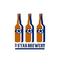Beer bottles star brewery retro vector