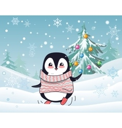 Christmas penguin flat design vector