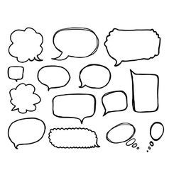 Speech or thought bubbles set cartoon doodle vector
