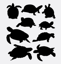 Turtle and tortoise animal silhouette vector